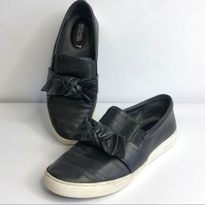 Michael Kors Val Leather Bow Slip On Sneakers
